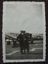 ACTRESS EVELYN RUSSEL ON TARMAC IN FRONT OF EUROPEAN AIR PLANE VTG 1940's PHOTO