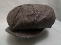 GREY HERRINGBONE 1900,S 1920,S 1930,s VICTORIAN EDWARDIAN PEAKY BLINDERS CAP