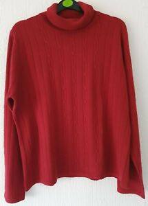 BHS POLO NECK JUMPER RED LONG SLEEVES PATTERN UK 18 NEVER WORN IN LOVELY COND