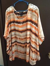 NWT - Lane Bryant - Blouse - 26 / 28 - Sheer / Browns /.Orange