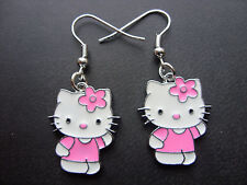 Par Nuevo De Chica Lovely Rosa Hello Kitty Pendientes, Joyería