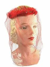 Vintage Womens Hat Red Embroidered  Long Red Veil 1940s Fits Any Size
