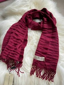 Authentic BNWT Burberry Quilt Wool & Cashmere Long Scarf Bright Burgundy