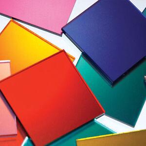 MIRROR SAMPLES Acrylic Prespex RANGE of COLOURS - SILVER PINK GOLD - STYRENE