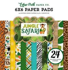 Echo Park JUNGLE SAFARI 6x6 Paper Pad 24pc Tiger Monkey Kid Planner Scrapbook