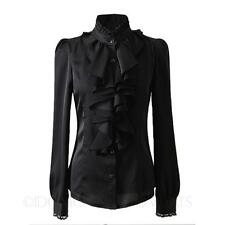 Party Office Satin Blouse Hippie Womens Silky Shirt Ladies Collar Top Size Black 8