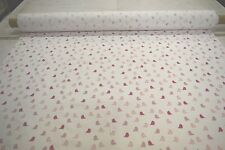 """WHITE WITH PINK DOVES 100% COTTON FLANNEL FABRIC 45""""W QUILTING PAJAMAS BTY"""