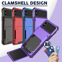 For iPhone 11 Pro XS Max XR Hybrid Heavy Duty Case Cover With Wallet Card Holder