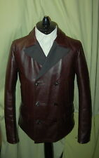 NWT DOLCE & GABBANA mens double breasted brown bull leather peacoat 46 36 $5000