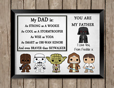 Star Wars Dad PRINT ONLY a4 Gift Picture Personalised