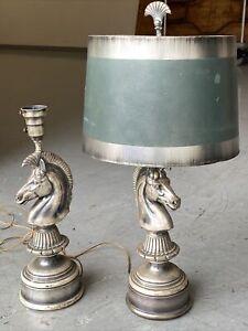 Mid Century Horsehead Table Lamps, Silvertone Metal