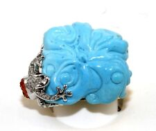Fine Flower Shape Turquoise & Diamond Cocktail Frog Ring 18k Yellow Gold 26.08Ct