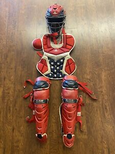 All Star System 7 Axis Intermediate 13-16 Catchers Gear With Bag Red White Blue