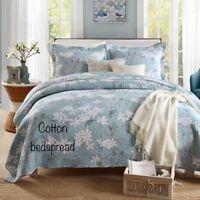 Brand new king / queen cotton bedspread 3 pcs set Blue Floral bedding coverlet