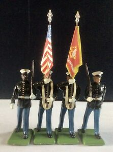 W. Britains Lead Soldiers US Marines Color Guard - lot of 4. Excellent