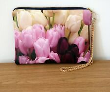 Clutch Bag Hand Floral Wrist Pouch Faux Leather Flat Purse Handmade Travel Chain