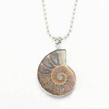 Madagascar Sea Natural Druzy Ammonite Slice Shell GEMSTONE Pendant Hot