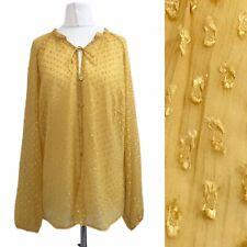 Yellow Women Long Sleeve Shirt 14 Sheer Collarless Button V Neck Loose Blouse