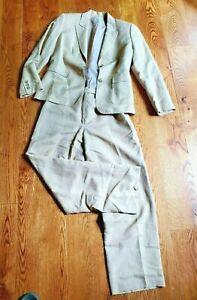 Vintage Tahari Arthur Levine Women's Linen Jacket and Pant Suit 6P Lined Beige