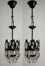 A pair of Antique French Basket Style Brass & Crystals small Chandeliers from