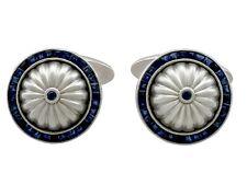 0.62ct Sapphire and 18Carat White Gold Cufflinks - Contemporary Circa 2000