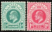South Africa Natal 1902 blue-green 1/2d carmine 1d crown CA mint SG127/128
