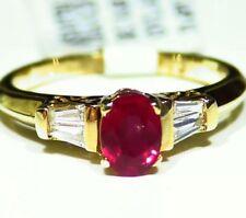 .85CT 14K Gold Natural Ruby Cut Diamond Halo Vintage Engagement Ring Retro Deco