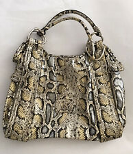 Kathy Van Zeeland Large Snakeskin Hobo Handbag Purse Bag