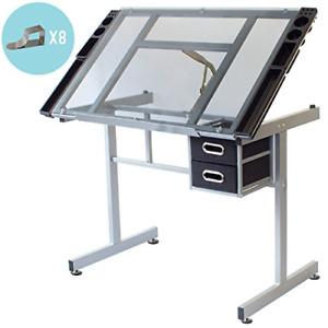 Stationery Island DUNBAR Artist Table. Tiltable Desk With Storage, Wheels & For