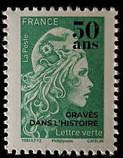 France 2020 Marianne l'Engagée timbre lettre verte surchargée 50 ans gravés