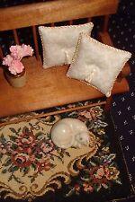 "Lot of 2 - Cream Pillows Doll House 1 :12 Scale - Mini Cream Damask 1 1/2 """