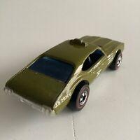 Hot Wheels Redline Staff Car Rare Olds 442 Army Enamel Olive Green 1969 HK Base