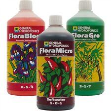 General Hydroponics GHE FloraGro FloraMicro SW FloraBloom 1L Flora
