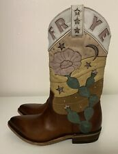 Frye Billy Cactus Pull On Cowboy Western Brown Leather Boots Women's Sz 10 B NEW