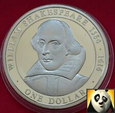 2005 Isole Cook $1 DOLLARO William Shakespeare storia britannica .500 MONETA D'ARGENTO