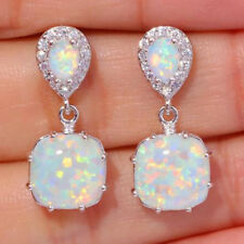 Hoop Earrings Wedding Jewelery For Women 925 Silver Filled Fire Opal Ear Studs