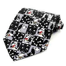 Happy Dogs Men's Necktie Novelty Pet Dalmatian Bones Paw Prints Animal Neck Tie
