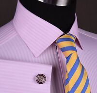 Pink Herringbone Stripe Formal Business Dress Shirt Designer Floral Ego Elegance