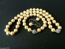 10mm Yellow South Sea Shell Pearl Necklace + Bracelet + Earring Set