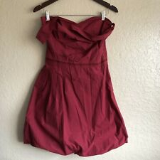 GF Ferre womens red strapless dress sz 12 bubble skirt asymmetrical cocktail