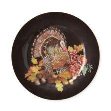S/4 Williams Sonoma Harvest Pumpkin Turkey Salad / Dessert Porcelain Plates NEW