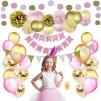 Pink Gold Birthday Party Decorations set Pom Poms Lanterns Confetti Balloons