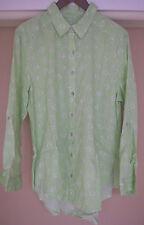 Chico's Button Down Shirt Circle Print Top Linen Size 3 16 18 XL 1x