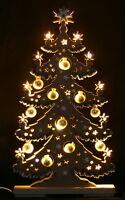 3D-Schwibbogen LED Tannenbaum goldene Kugeln 57x30cm Erzgebirge Lichterbogen