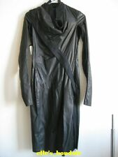 NWT Authentic Rick Owens Black Long Leather Jacket Trench Coat Size IT 40