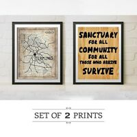 The Walking Dead TV Replica Prop Terminus Map Sanctuary Sign Wall Art Party Gift