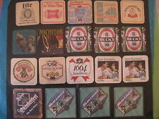 19 Beer Coaster Miller,Old Style,Stroh,Weinhard's,Michelob,Becks,Grizzly,Bud,++