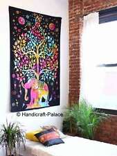 Elephant Tree of Life Wall Hanging Cotton Twin Tapestry Bedding Bedspread Decor