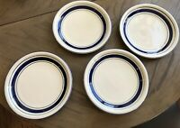 "Tienshan Country Crock Stoneware Set Of 4 Dinner Plates 10 3/4"" Blue And Green"