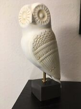 "Mid Century Style Greek Terracotta Owl, White Ceramic bird boho art sculpture 7"""